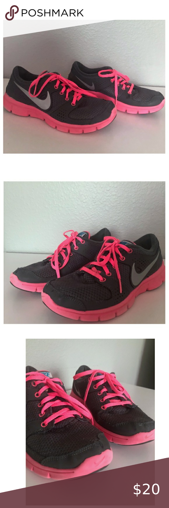 Nike Grey and Hot Pink Sneakers in 2020