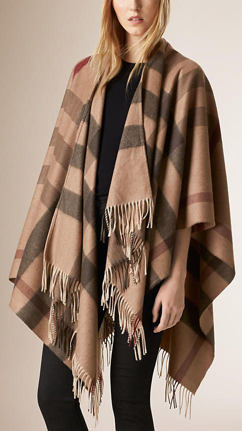Burberry Smoked Trench Check Merino Wool Cashmere Wrap - Refined check wrap  in a blend of cashmere and extra fine Merino wool. Fringing at the ends. f719a3dc07