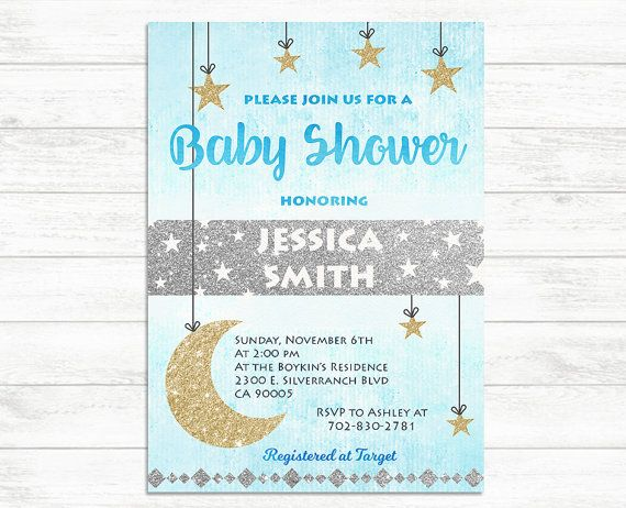 BABY SHOWER Invitation Baby Boy Invite Twinkle by BaloeDesigns