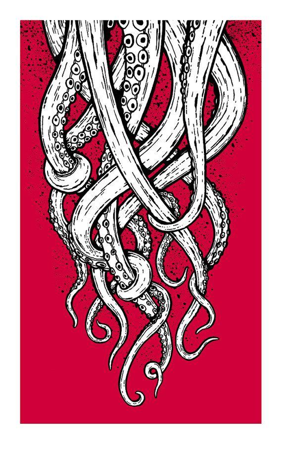 tentacles screenprinted art print my octopus drawing