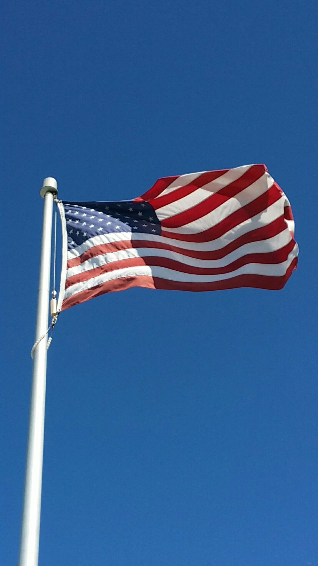 A beautiful sight; another day that Old Glory flies over a free nation. I see a symbol of that freedom and the sacrifice so many have made to keep it so. To all the haters: keep on hating, cause as long as it's flying you're free to display your ignorance for all the world.