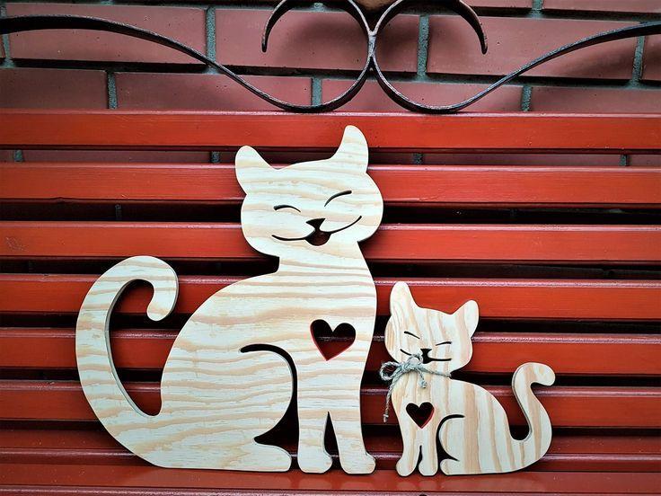 2 Wooden Cats 1 Big 1 Small Cat Lover Gift Baby Nursery Decor Farmhouse Wall Decor Handmade Hom Handgemachte Wohndekoration Handmade Home Holzarbeiten