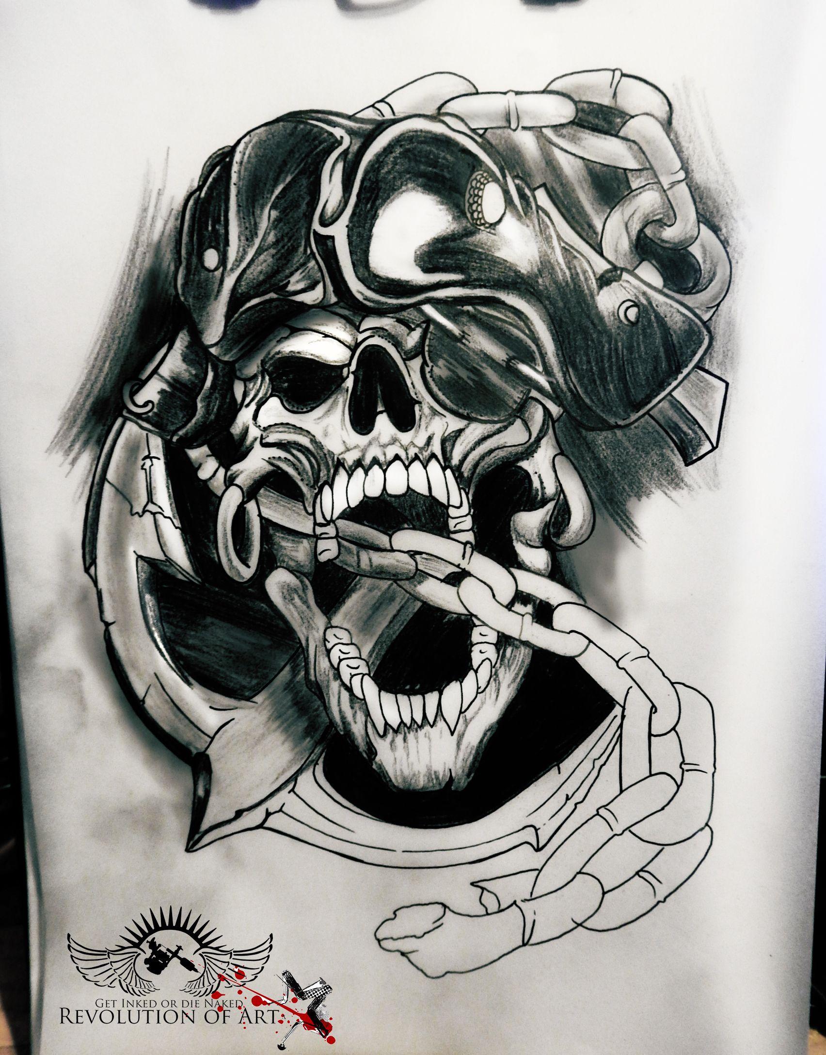 Anchor Bite Death Design Evil Pirate Pirates Skull Tattoo