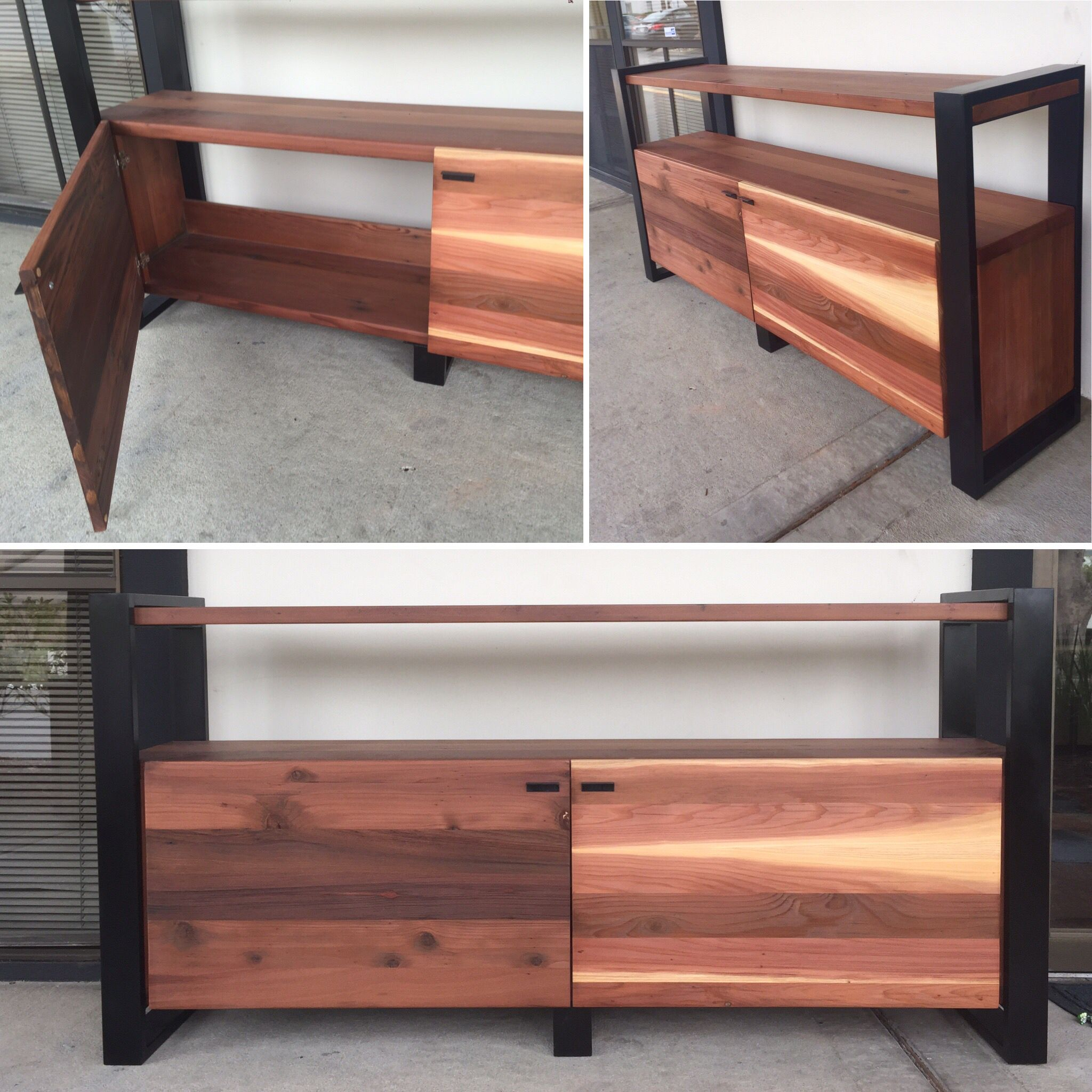 Custom made cabinet and tv stand reclaimed wood redwood for Local reclaimed wood