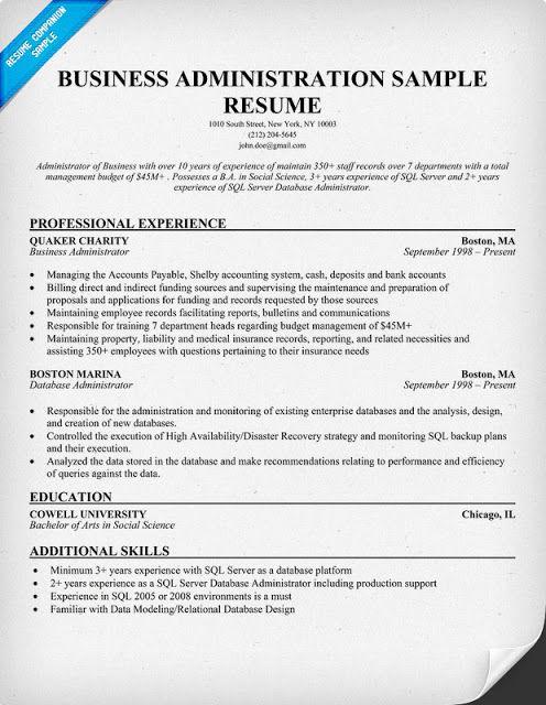 Business Administration Resume Samples Resume Examples Sample Resume Professional Resume Samples