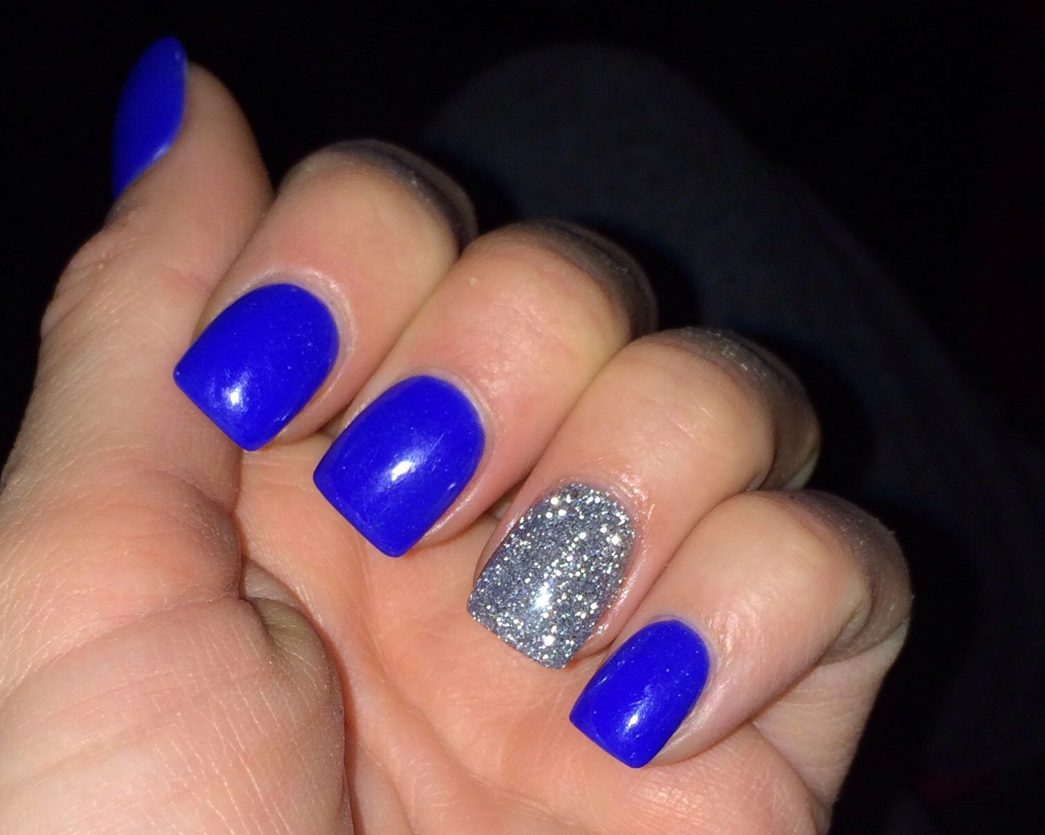 blue nails with silver accent nail nails pinterest