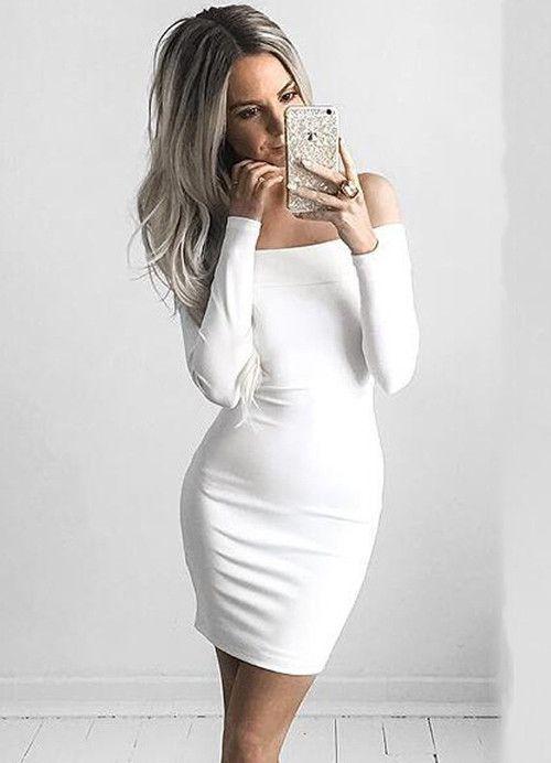 846471a4262 BEFORW Women Sexy Dress Fashion The Word Shoulder Summer Autumn Dress  Vestidos Plus Size Women Clothing White Black Dresses