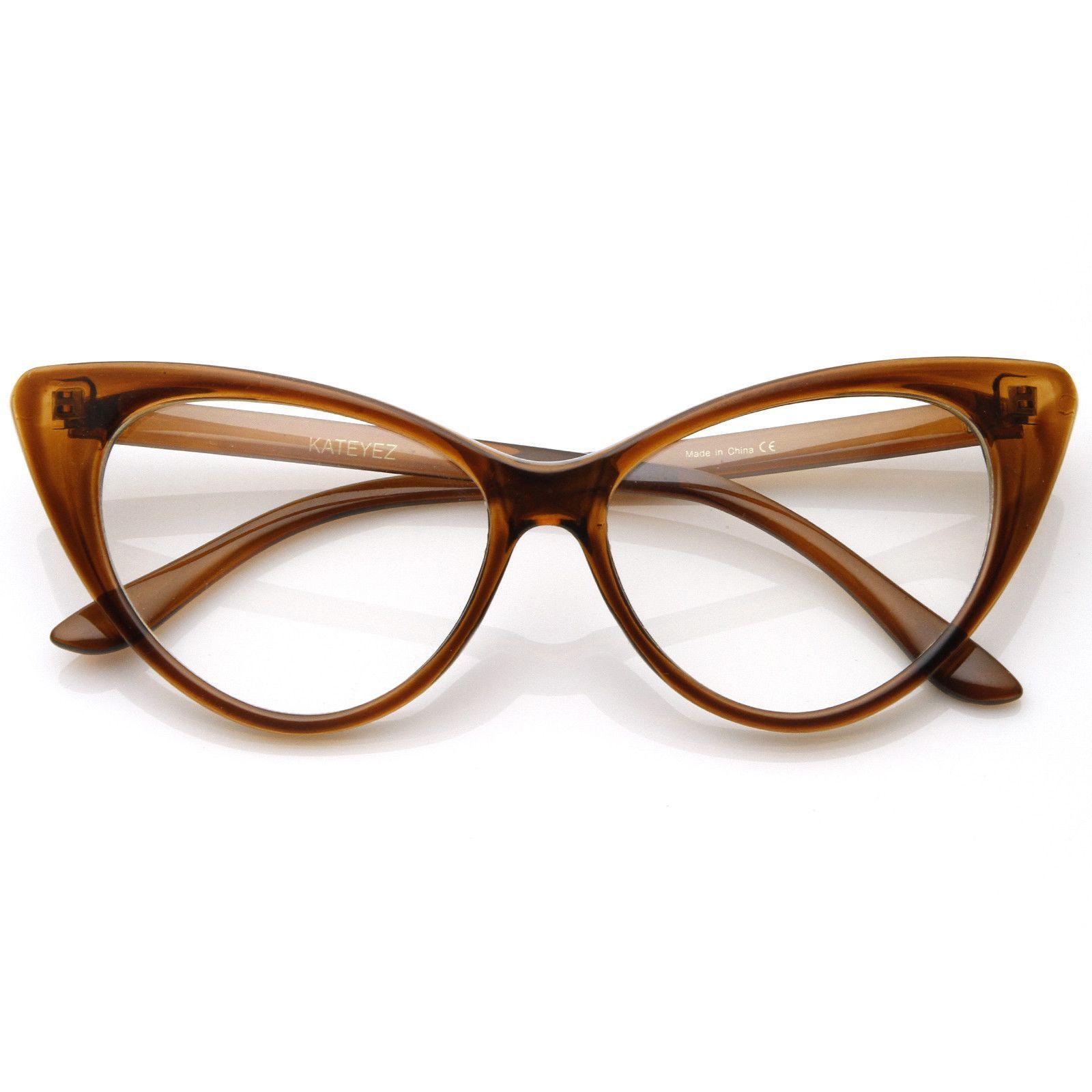 1950's Vintage Mod Fashion Cat Eye Clear Lens Glasses 8435