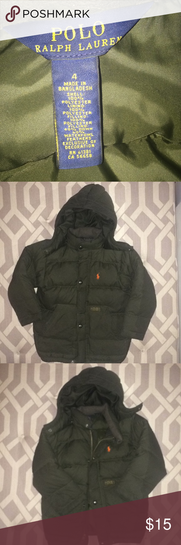 2eac1f9f8 Boys' Ralph Lauren Polo Down Puffer Jacket, Size 4 This is a classic! Super  warm army green down jacket. Great condition. Worn a few time during one  winter ...