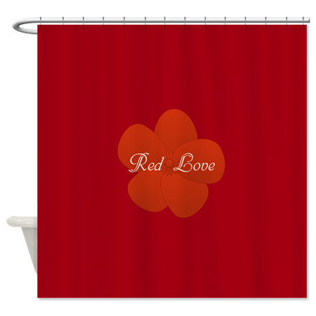 Red Love Flower Garden Party Shower Curtain, editable text.