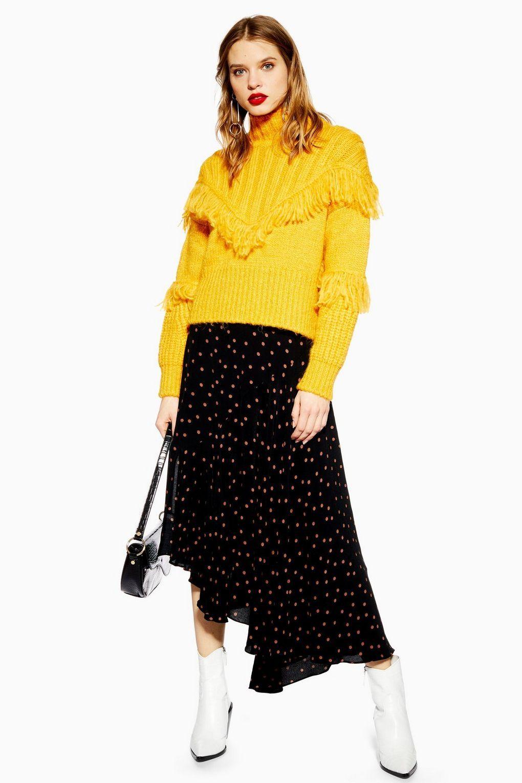 d583bd582f10 Spot Midi Asymmetric Hem Skirt - Topshop USA | Wear it in 2019 ...