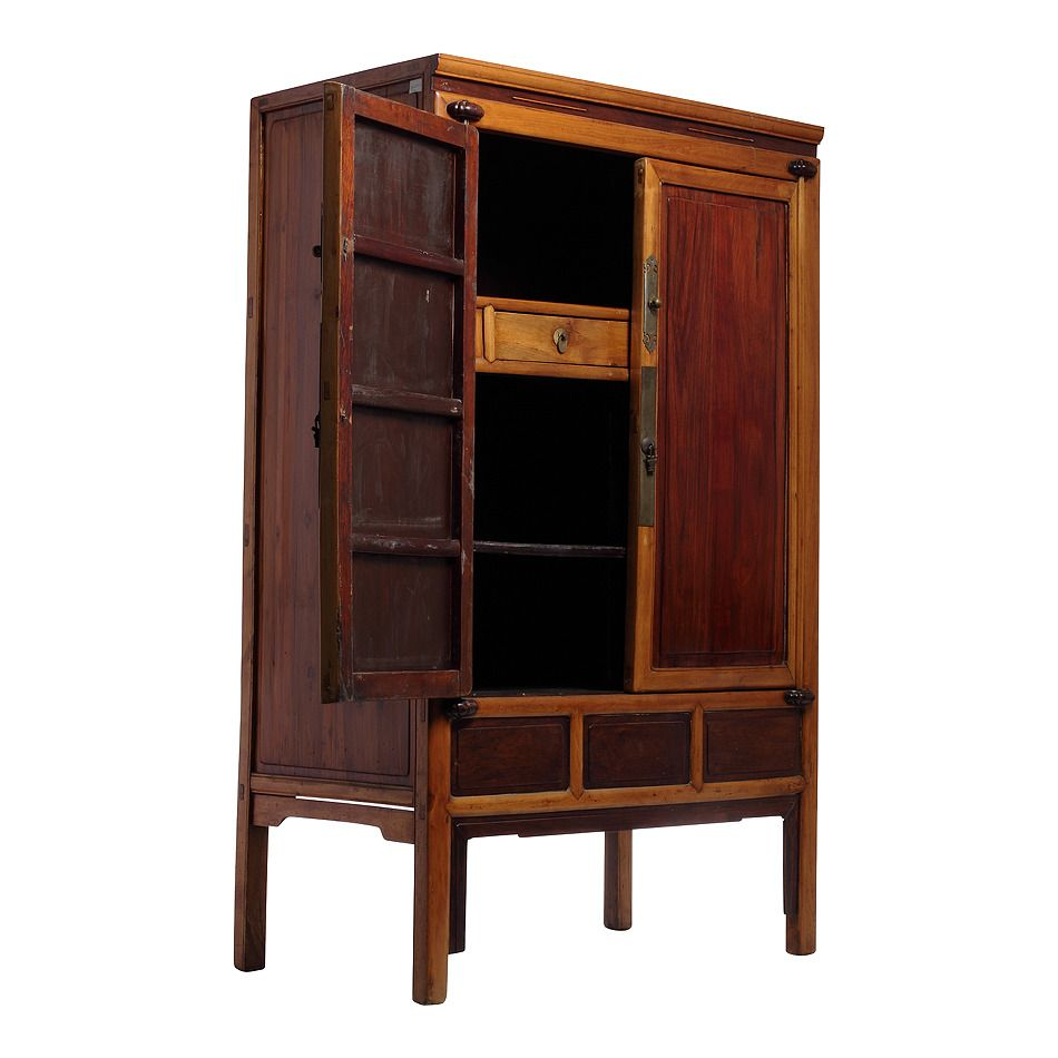 Beau Antique Ningbo Elm And Cypress Wood Cabinet From China, 19th Century