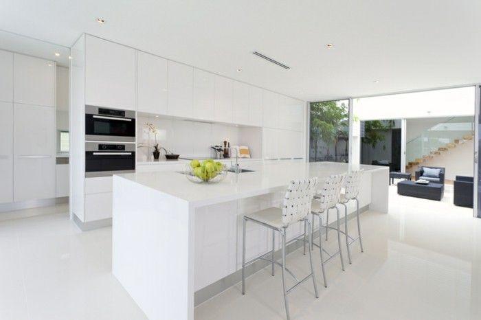 günstige Küchen mit modernem Design in weißer Farbe, offene Küche - design küchen günstig