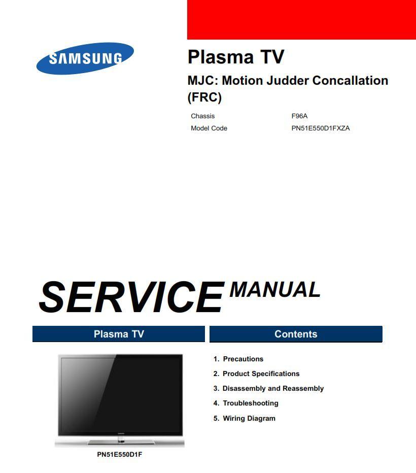 Samsung Pn51e550 Pn51e550d1f 3d Smart Plasma Tv Service Manual Tv Services Samsung Repair Guide