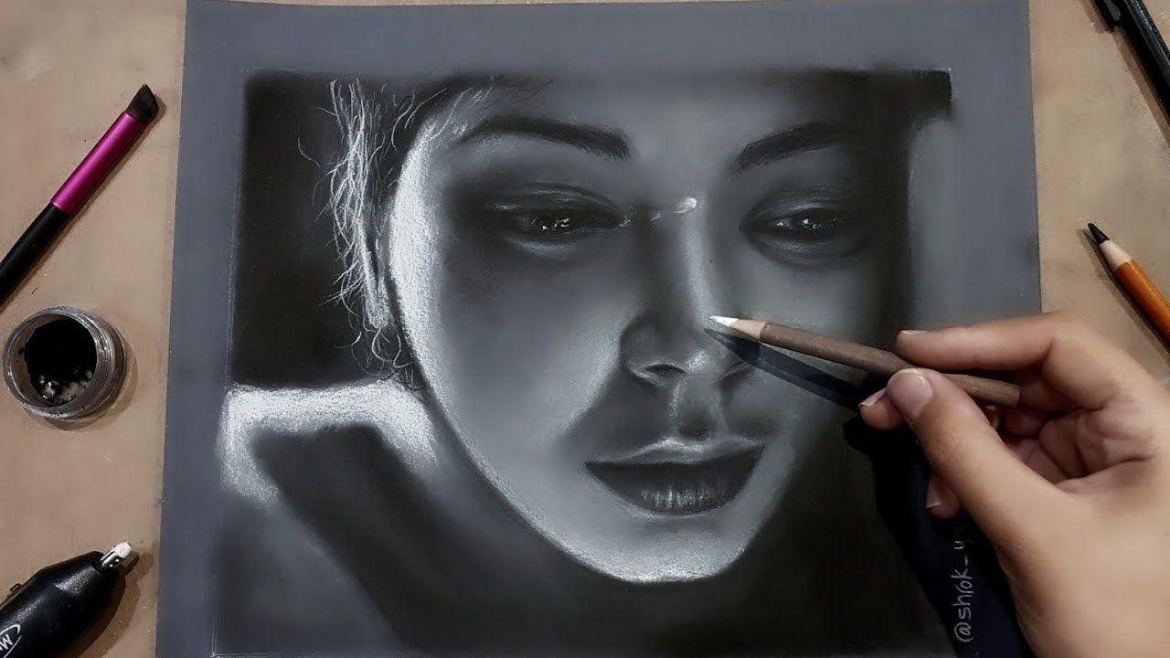 تعليم اساسيات الرسم بالفحم تعلم رسم فتاة تبكي بالفحم خطوة بخطوة Youtube Art Art Drawings Drawings