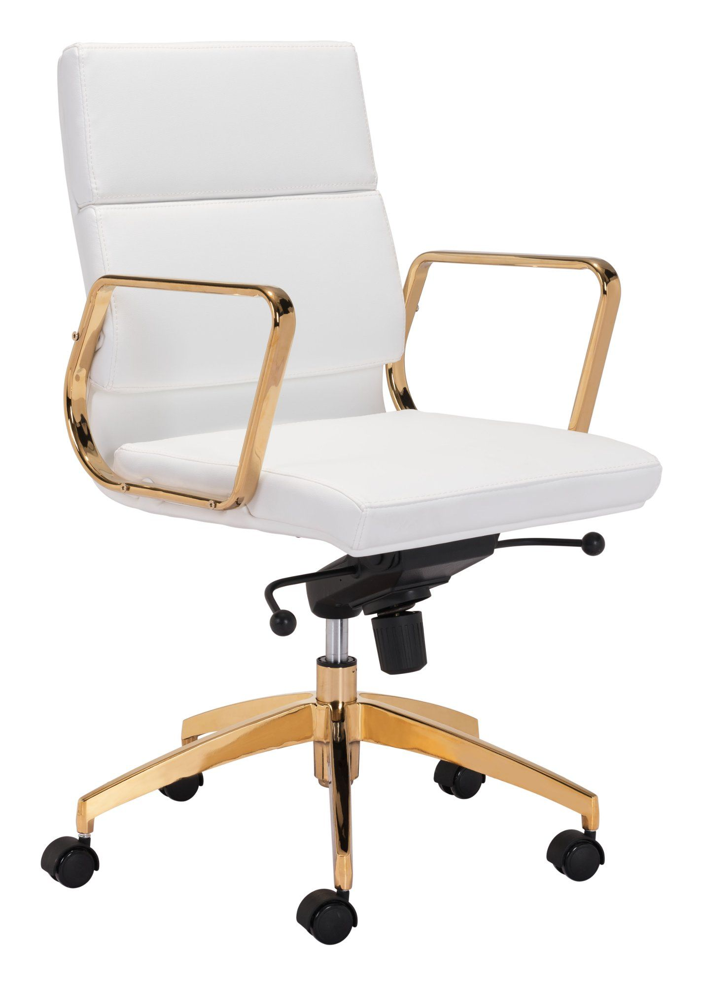 Sleek And Sassy White And Gold Office Chair Scientist White Leather Office Chair Chair Black Office Chair