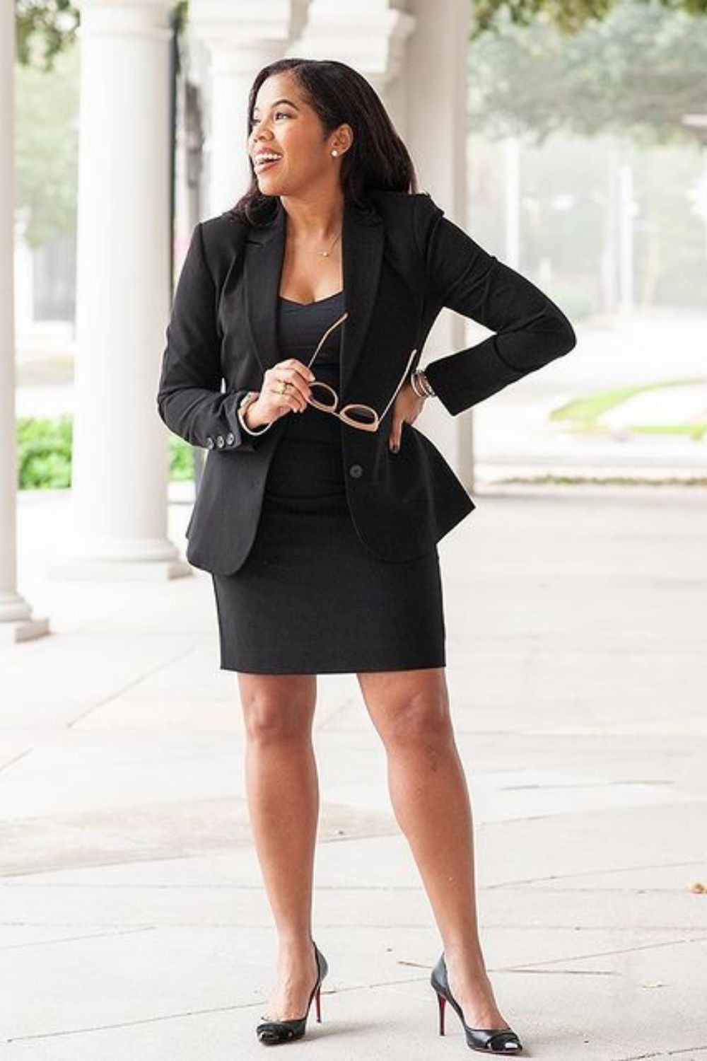 Classic Black Blazer Outfit Courhousecouture In 2021 Lawyer Fashion Professional Outfits Professional Outfits Women [ 1500 x 1000 Pixel ]
