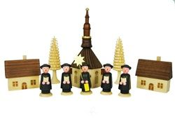 """""""Kurrende"""" (walking) singer figures, dressed in long black coats and flat top hats walk from house to house singing and wishing everyone a """"Merry Christmas."""" Kurrende with Seiffen Church- natural stained wood figurines from Kathe Wohlfahrt  $76.95"""