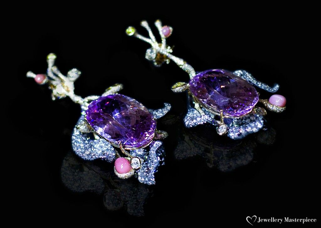Cindy Chao kunzite,conch pearl and diamonds earrings