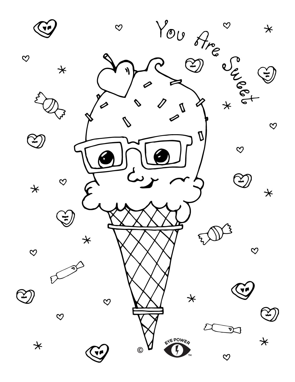 Free Valentines Coloring Page Printable Eye Power Kids Wear Valentine Coloring Valentine Coloring Sheets Valentines Day Coloring Page