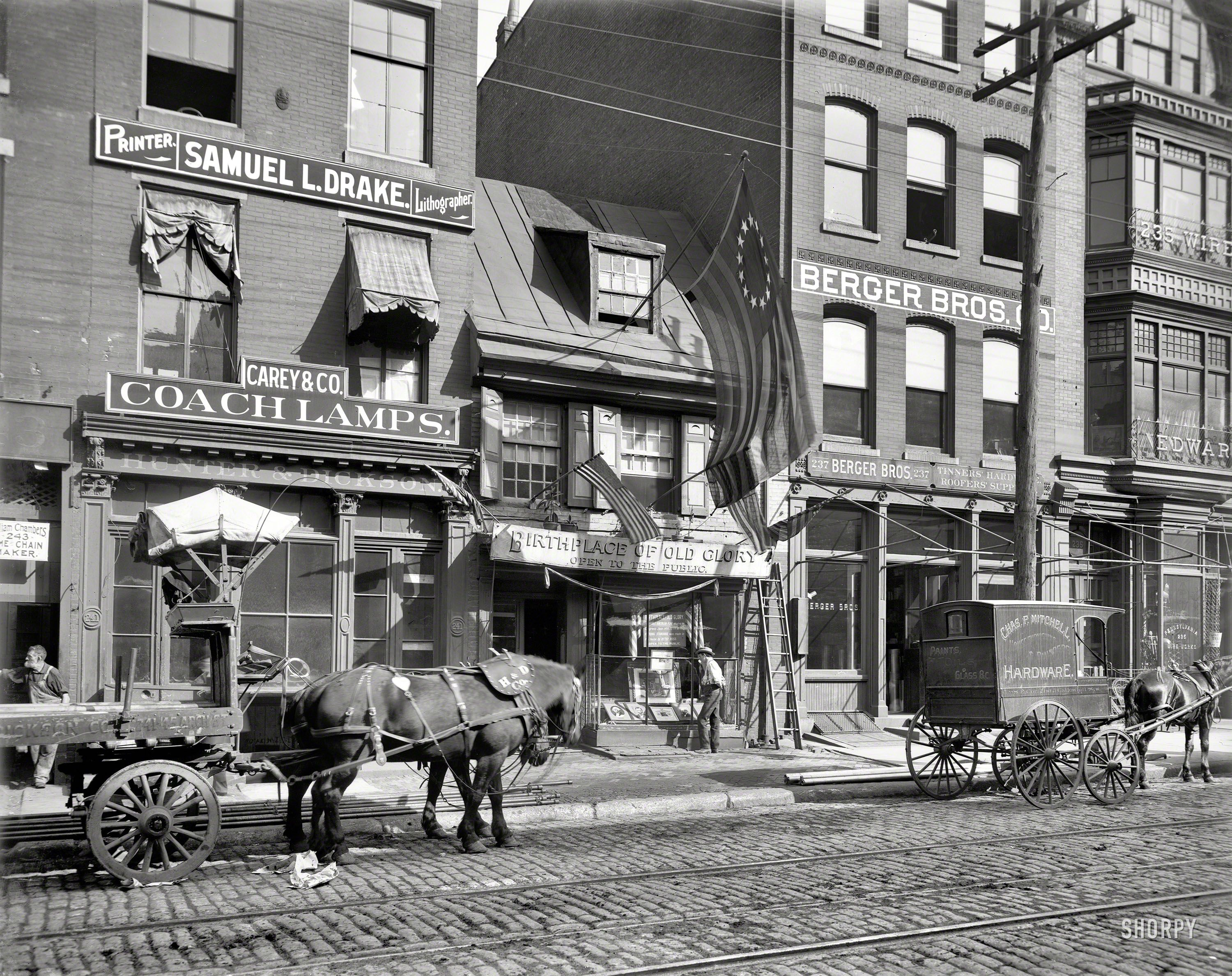 Circa 1900. Betsy Ross House, Philadelphia. Our second look at Jack the horse. 8x10 inch glass ...