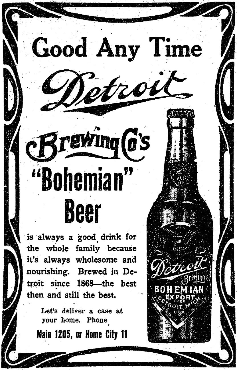 Stroh\'s Bohemian beer advert; The Detroit Free Press, August 13 ...