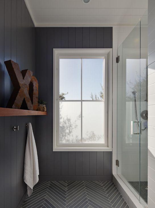 Grey Bathroom Wainscoting On Walls Dark Grey Floor With White Grout Herringbone Pattern Ru Herringbone Tile Bathroom Herringbone Tile Floors Bathroom Design