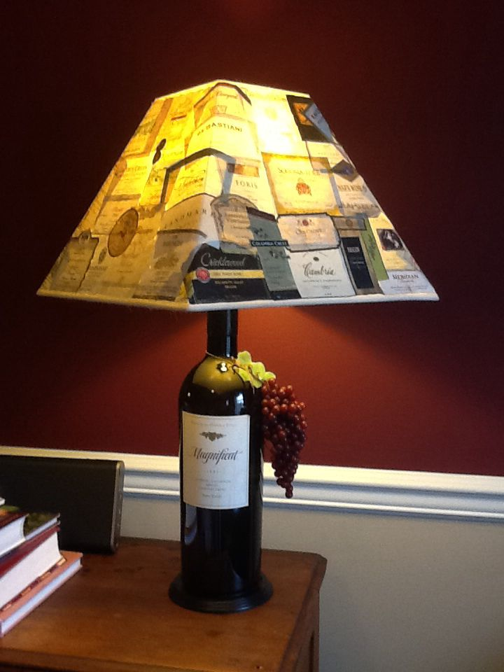 Wine Bottle Lamp Diy Apply Wine Labels To Cheap Lamp Shade And