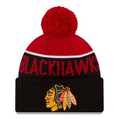 Chicago Blackhawks New Era Sport Cuffed Knit Hat with Pom - Red/Black