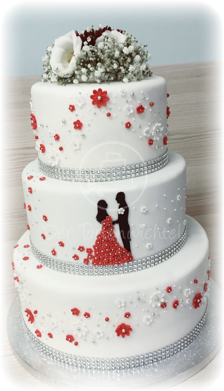 Rot wei e hochzeitstorte tortenwichtel weddingcakes for Weisse kuchen bilder