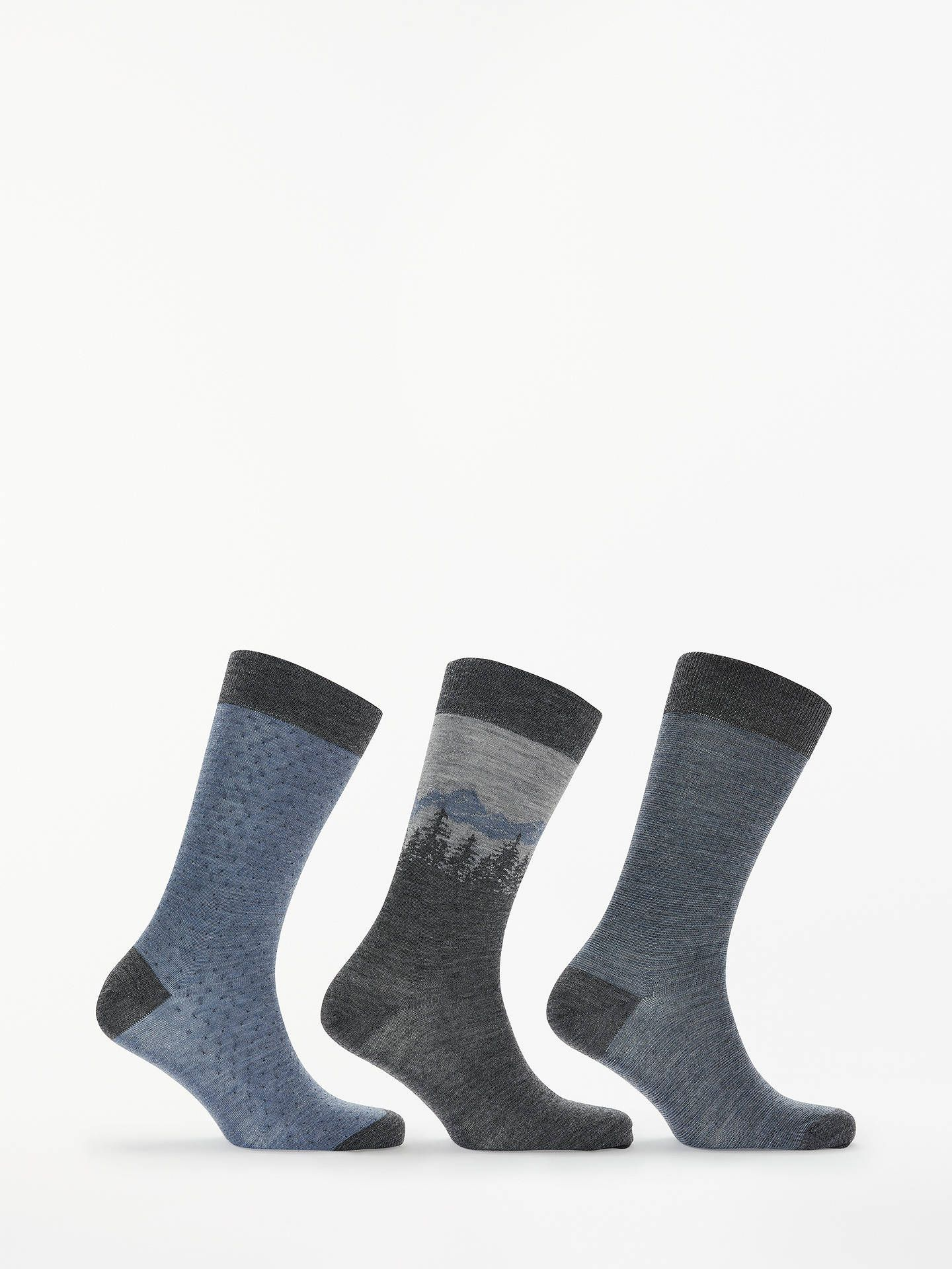 John Lewis Partners Made In Italy Merino Sock Gift Box One Size Pack Of 3 Blue Sock Gifts John Lewis Partners Lewis