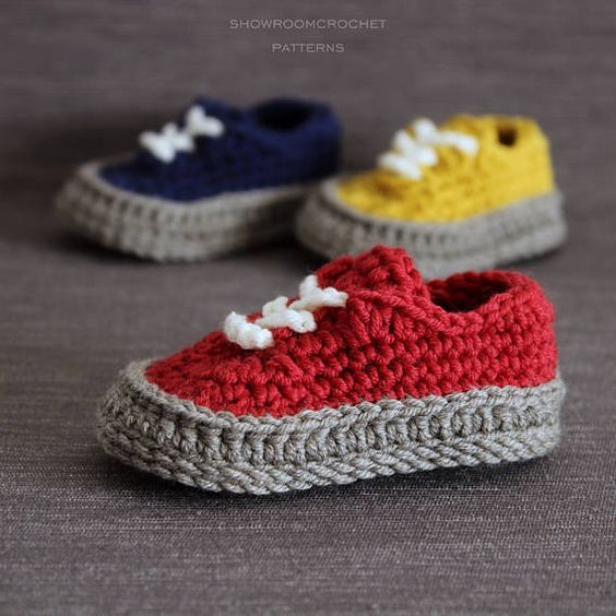 Crochet PATTERN baby Classis sneakers | Zapatillas de bebe, Patrones ...