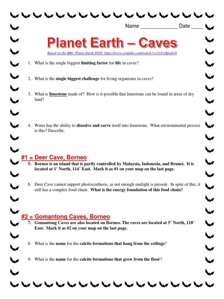 Planet Earth Freshwater Worksheet Answers Planet Earth Caves Worksheet Cave In 2020 Worksheet Template Bbc Planet Earth Lesson Plans