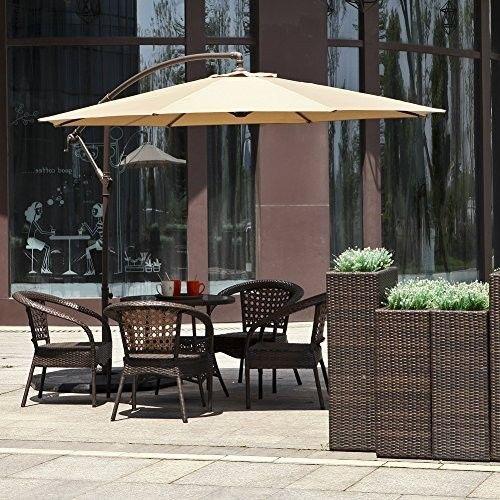 Offset Patio Umbrella Furniture Set 10ft Hanging Pool Shade Outdoor Base  Stand #OffsetPatioUmbrellaFurniture