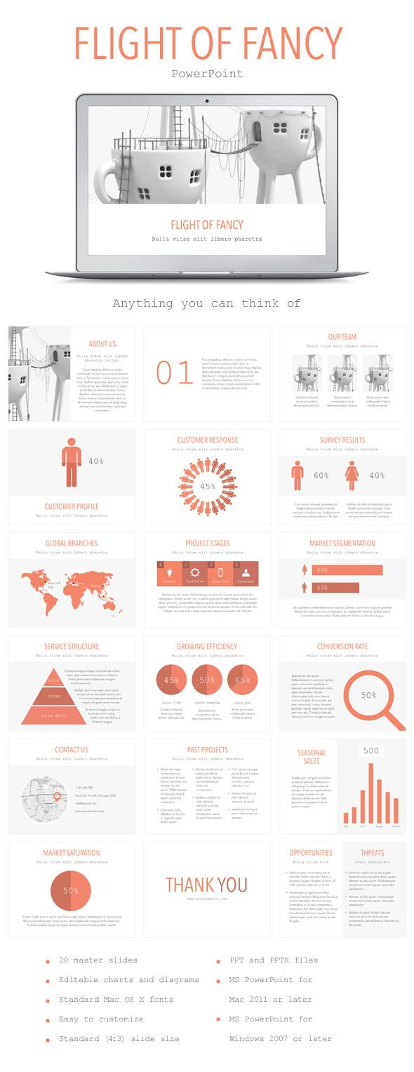 flight of fancy powerpoint template (powerpoint templates, Modern powerpoint
