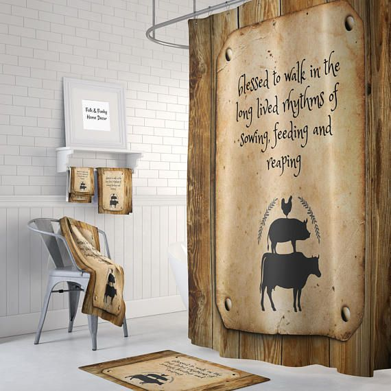 Blessed Farm Shower Curtain Bath Mat Towels Country Rod Hooks Fabric Curtains