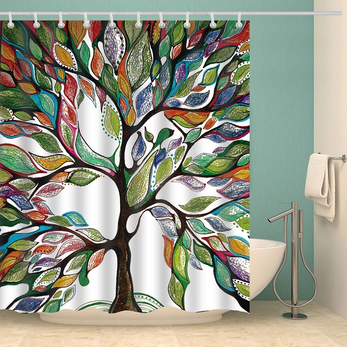Colorful Tree Of Life Print Waterproof Shower Curtain Bathroom