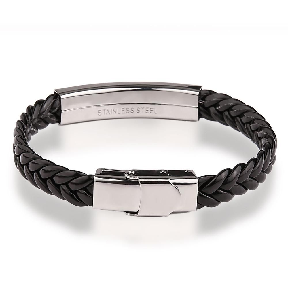 hurleyburleyman mens steel by bracelet and personalised leather engraved product black original man men s hurleyburley infinity
