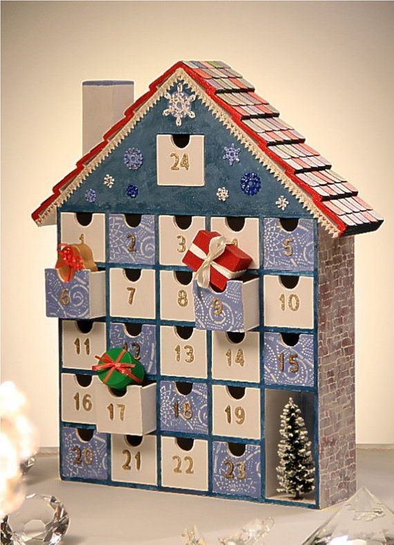 2015 diy wooden house drawer advent calendar with gift box for Christmas tree advent calendar diy