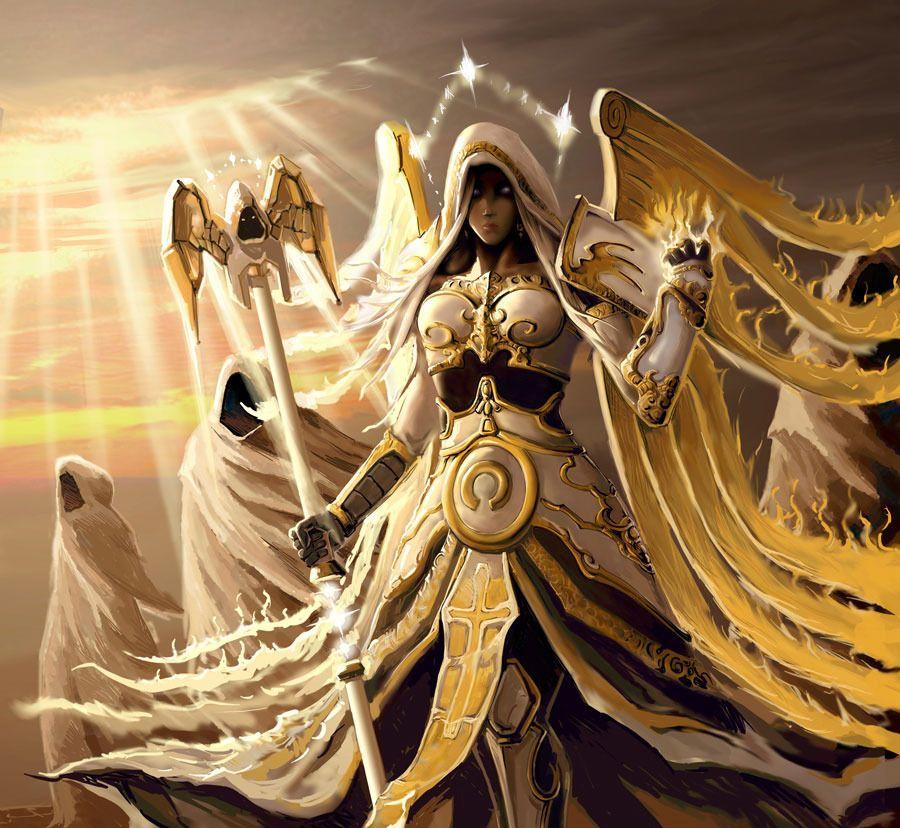 Priestess Of Heavens Light Anjos E Demonios Guerreiro Anime