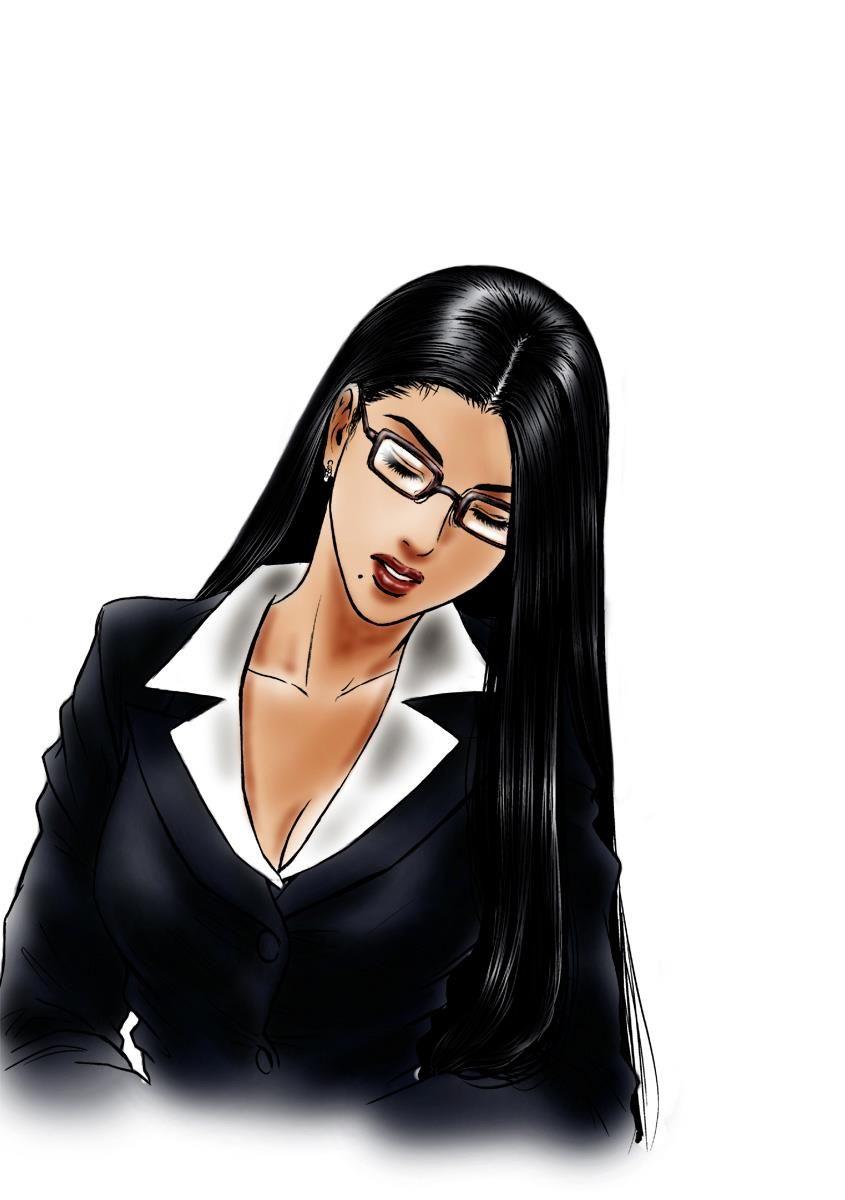 Young Business Women Pony Tail Chop Bun Chop Cartoon