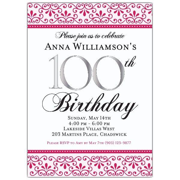 Pink Scroll 100th Birthday Invitations 100th Birthday Birthday