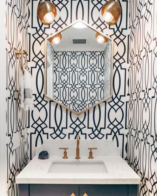 Best 11 Bold Wallpaper Looks Powder Room Wallpaper Bathroom 400 x 300