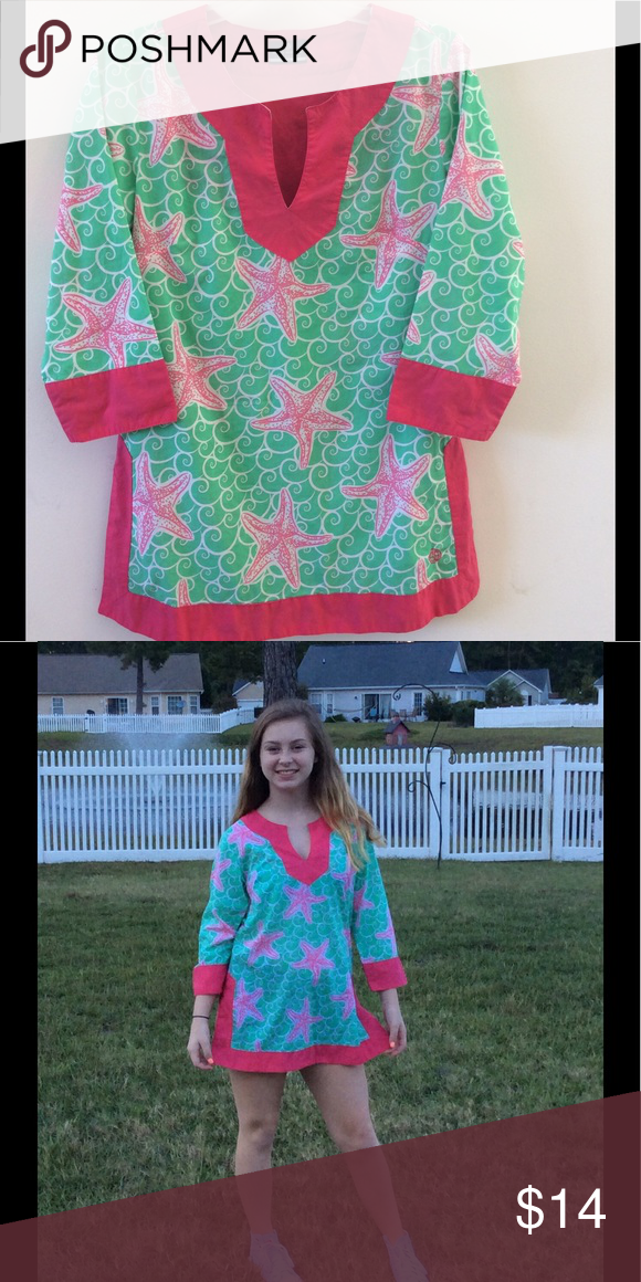 7bedaacae05 Simply Southern Tunic Top Simply Southern Green Dress with White Swirls.  The Top has Pink Starfish and Pink Edging at Wrists and the Bottom.
