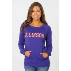 Clemson Tigers Pullover with Lace Appliqué on sale for $44.99 at www.TotallyCollegiate.com