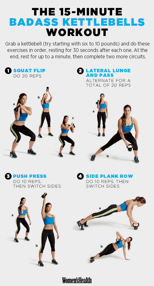 The Best 15 Minute Workouts For 2015 15 Minute Workout Kettlebell Workout Kettlebell