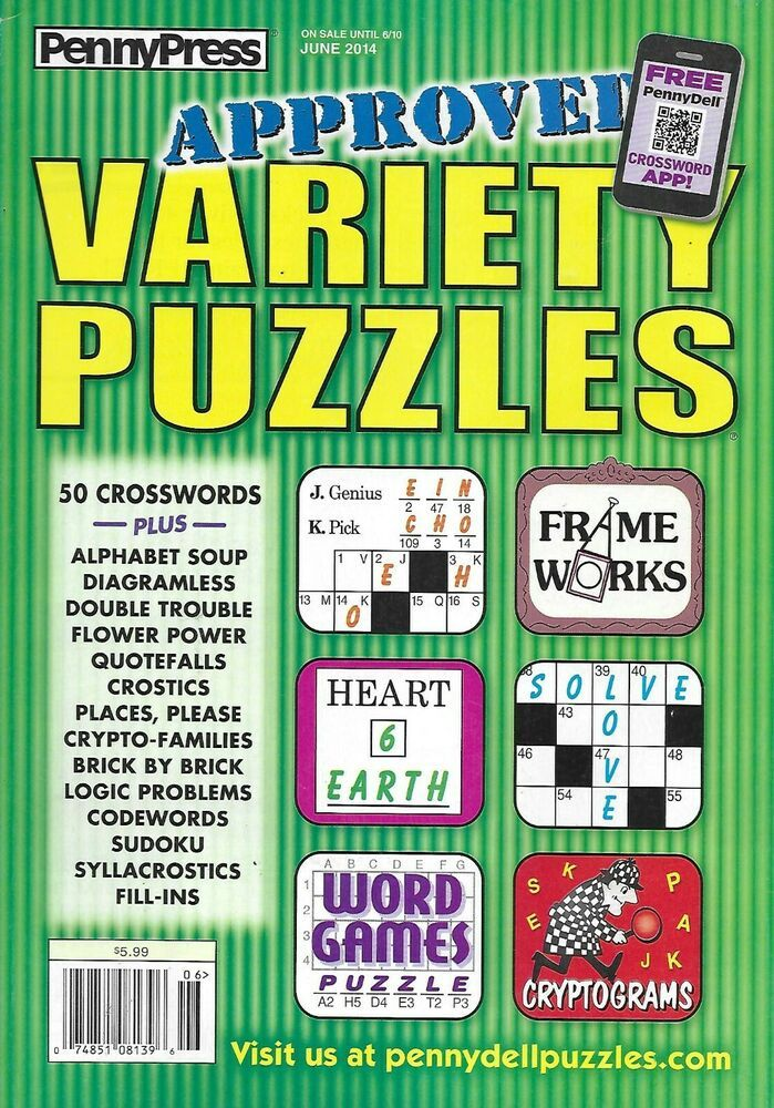 Penny Press Magazine Variety Puzzles Crosswords Word Games