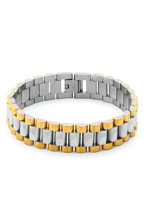 King Ice 8 Inch Two Tone Rolex Link Bracelet