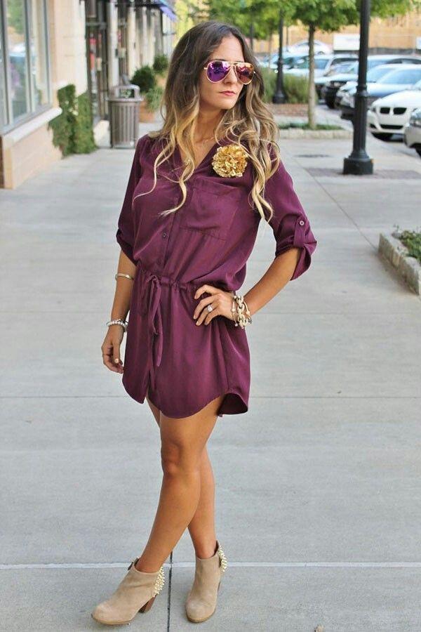 shirt dress with booties