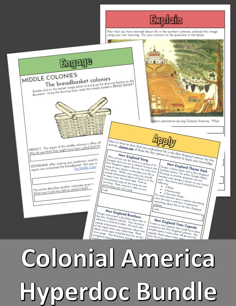 Colonial America Hyperdocs Colonial America 13 Colonies Learning Process [ 1056 x 816 Pixel ]
